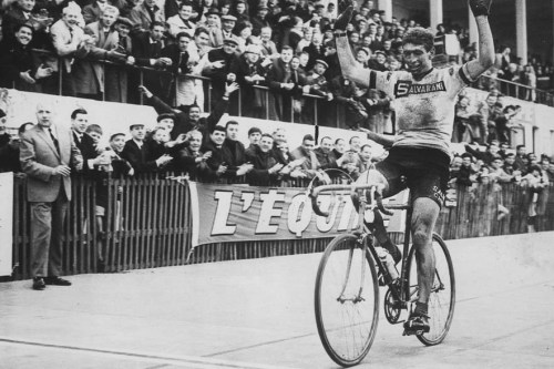 1966: Italian cyclist Felice Gimondi throws up his arms in celebration after crossing the line to win the Paris-Roubaix one day race. Mandatory Credit: Allsport Hulton/Archive